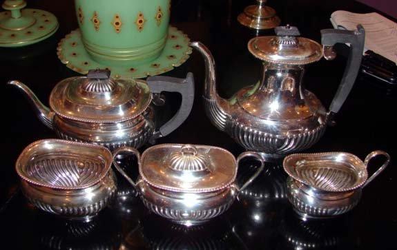 84: English Silver Tea and Coffee Service.