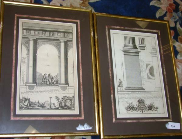 1001: Set of 8 French 18th C. Architectural Engravings.