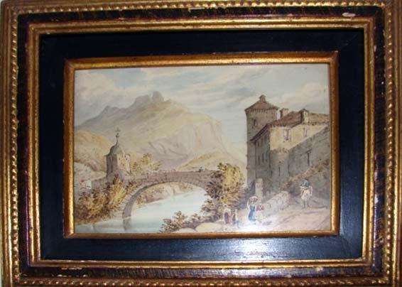 1002: 19th C. Italian watercolor. Framed.
