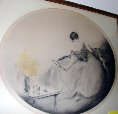 """1004:  Hardy Etching, """"Lady at Vanity"""". 120/270."""
