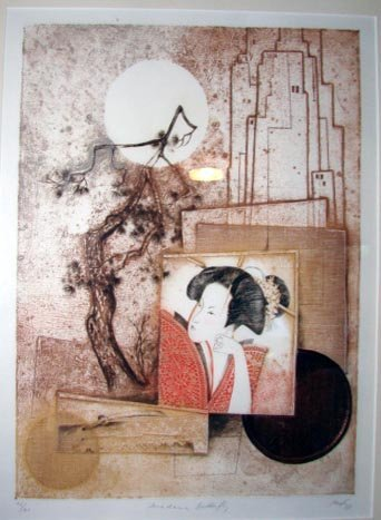 """1005:  Etching """"Madame Butterfly"""", 1981, unattributed."""