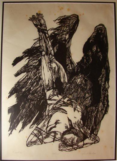 """1008:  Jacob Landau woodcut, """"Prometheus"""", 110/140."""