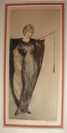1010: Etching after L. Icart. Beauty in Black Dress. #5