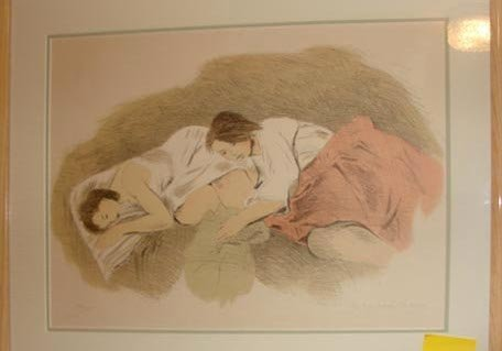 """1011:  Raphael Soyer lithograph """"Adolescents"""", 1971."""
