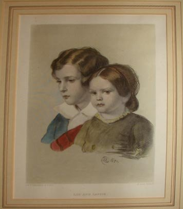 """1012:  Lithograph, """"Lad and Lassie"""", After Sir Landseer"""