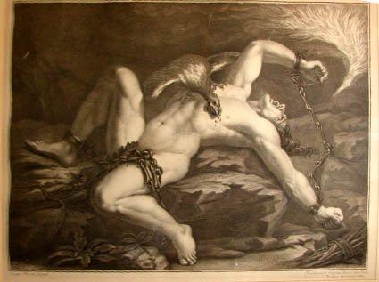 """1015:  Engraving, """"Prometheus Bound"""" aft. Jacopo Terren"""