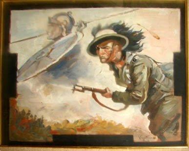 1016:  Oil/panel, Italian Military Illustration. 1918.