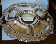 144 Large silver plate lazy susan condiment tray