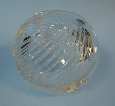 202: Small crystal globe form vase.