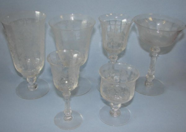 "206: Set 36 Heisey wine glasses,  6 sizes. ""Orchid""."