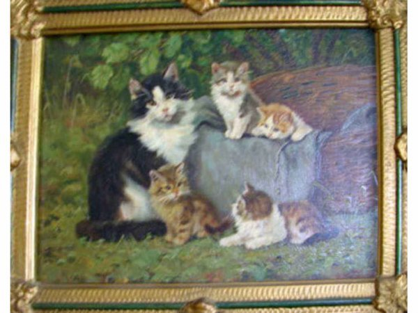 "212: Oil painting on board ""Five Kittens"" B. Kogl."