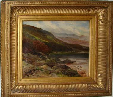 213: Oil painting, American landscape, 19th C.