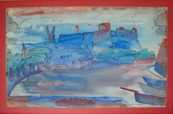 "215: Ludwig Bemelmans original watercolor ""Antibes""."