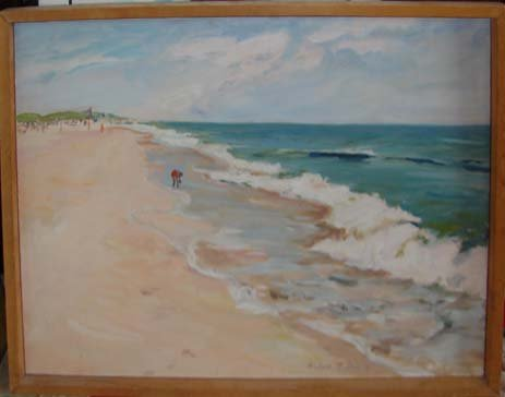 216: Original oil painting, shore scene by Anina Fuller
