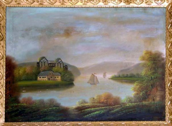 217: Oil painting primitive Hudson River Scene.  19thC