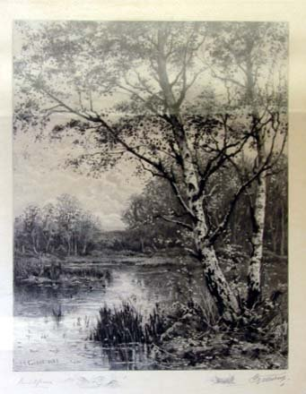 218: 19th C. Landscape etching.  Framed.