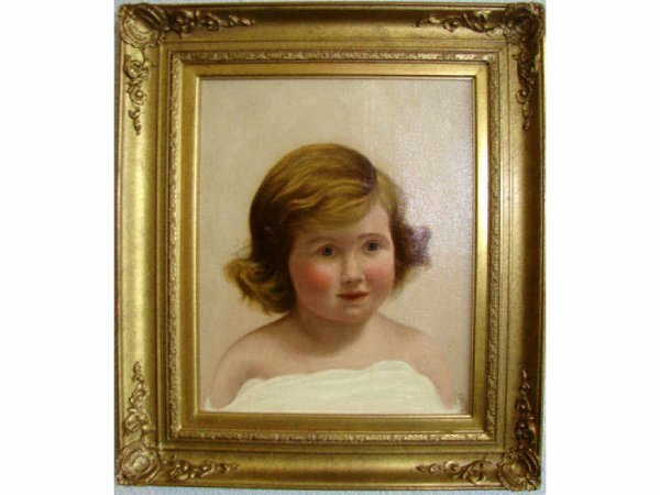 221: Oil painting, Portrait of a Child, C. 1930 - 50.