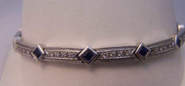 4: Ladies 14K White Gold, Diamond, Sapphire Bracelet.