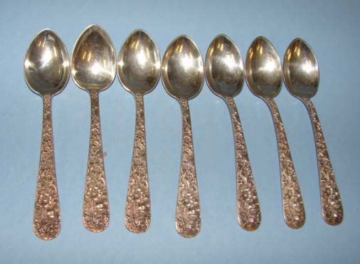 19: Set of 7 S. Kirk & Son, Sterling Demitasse Spoons.