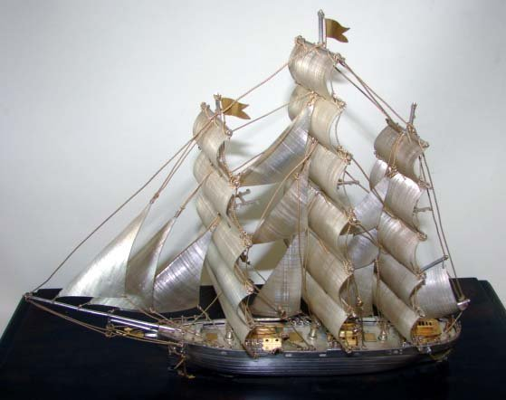 """90: Sterling Silver Ship's Model  """"Cutty Sark""""."""