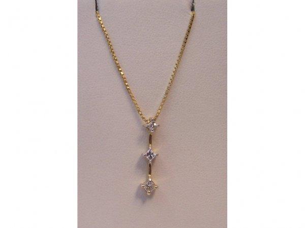 1: Yellow Gold & Diamond Pendant w/ Chain.