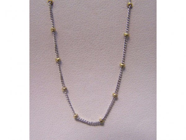 2: 14 K white and Yellow Gold beaded Chain.
