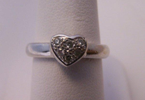 3: 14 K. White Gold Diamond Heart Ring.