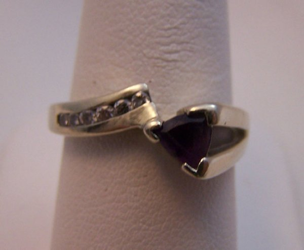9: 14 Karat White Gold Amethyst and Diamond Ring