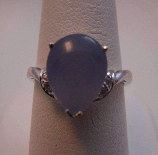 10: Ladies 14K white gold Moonstone Diamond Ring.