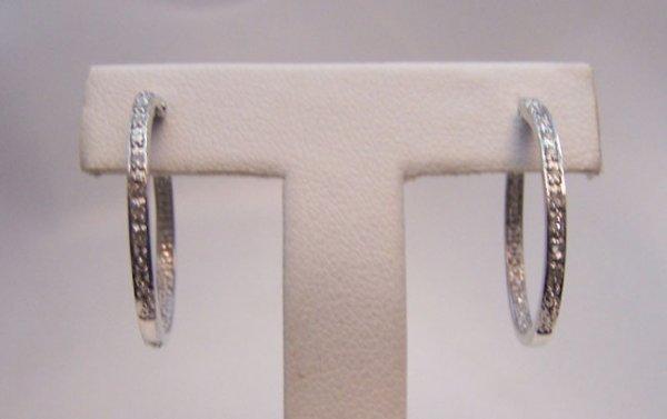 21: 14K White Gold Pave Diamond Hoop Earrings.