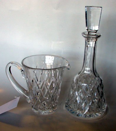 5: 2 pcs. Waterford Crystal, Decanter & Pitcher.