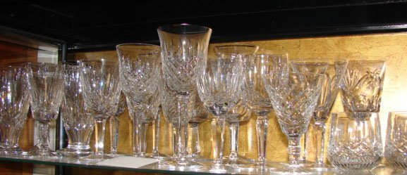 7: 10 Assorted Waterford Glasses, Varied Patterns.