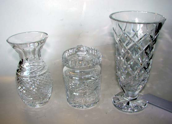 8: Three (3) Waterford Articles.  Vase and Jar.