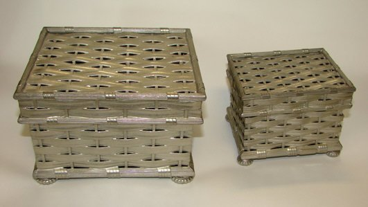 """1: 2 Tiffany & Co. Pewter """"Basket Weave"""" Boxes."""