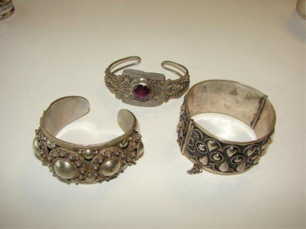 17: Group of 3 Silver Bangle Bracelets.