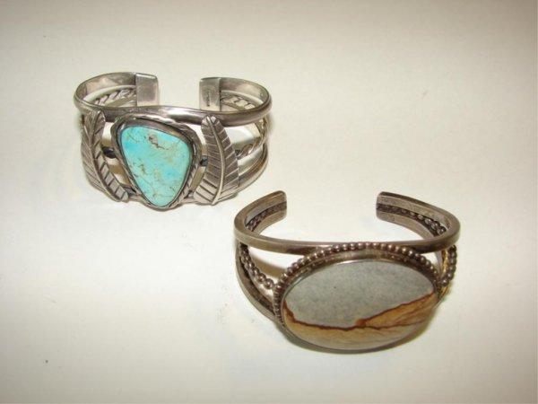 18: Two Hardstone Mounted Bangle Bracelets.