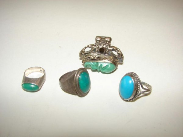 19: Group of 4 Hardstone Mounted Sterling Rings.