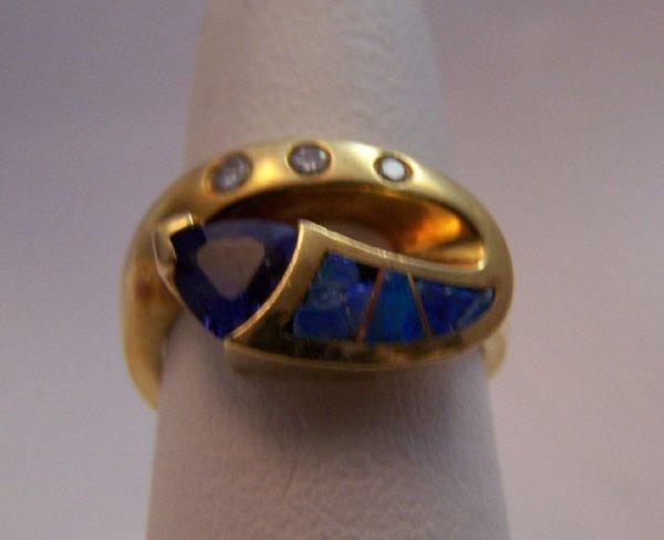 21: Tanzanite, Diamond and Opal Fashion Ring