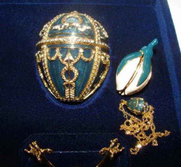 """90: Faberge Enamel """"Rosebud"""" Egg, 20th C. Green. - 2"""