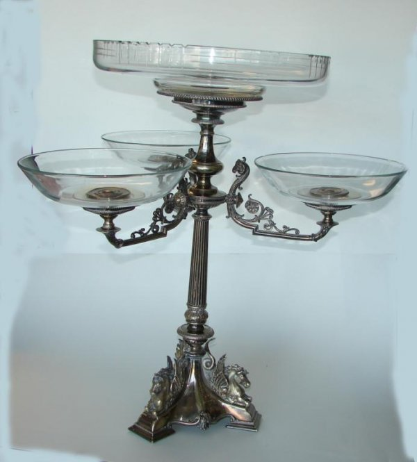14: English Silver Plated Epergne, dated Feb. 2, 1861.