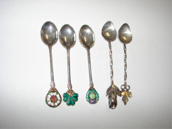 21: Group 5 sterling/enamel demitasse spoons.