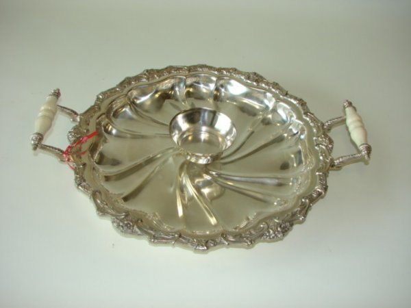 22: Silver Plated Bone Handled Serving Tray.