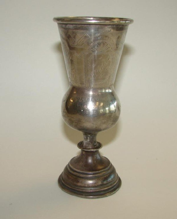 16: Russian Kiddish Cup,  dated 1882.