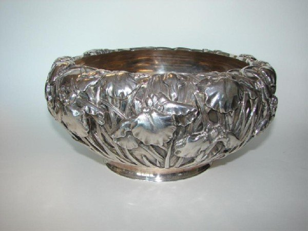 19: Japanese Sterling Silver Orchid Bowl, 19th C.