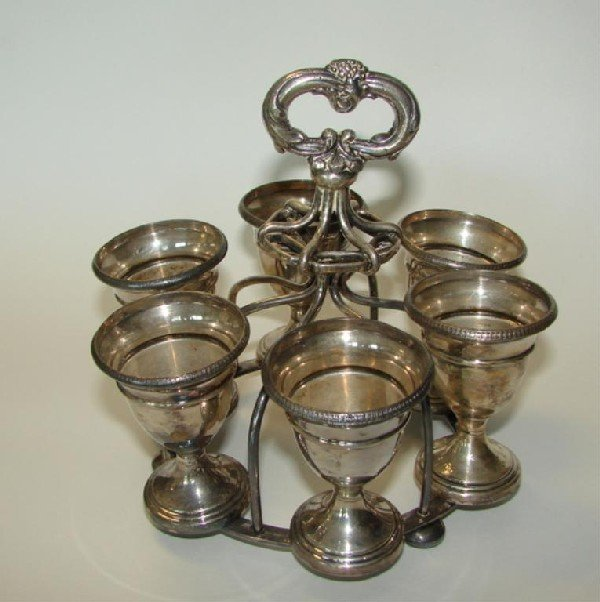 20: Silver plated egg coddle set. 19th C.