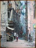 110: Oil paintings, Street scene, F. Del Basso.