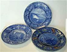 164: Three (3) English Transferware Plates 1860 - 1900+