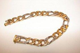 3: 14K w/yellow gold diamond herringbone bracelet.