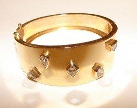 4: 14K Y gold diamond hinge cuff bangle bracelet.