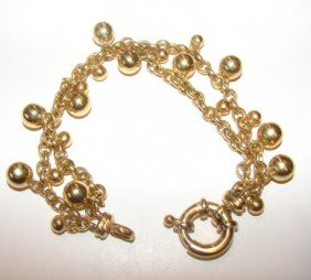 14: 18K y/gold double chain bracelet with bead dangles